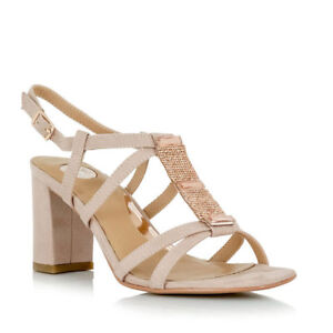 Details about NEW EXE Carol 358 NUDE Block High Heel Strappy Sandals with Crystal Top Strap