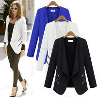 Fashion Women's Slim Casual Suits Blazer Lapel Zipper OL Long Sleeve Jacket Coat