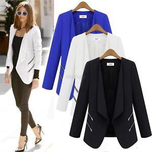 Women/'s OL Ladies Lapel Slim Suit Coat Blazer Jacket Zipper Tunic Career Zipper