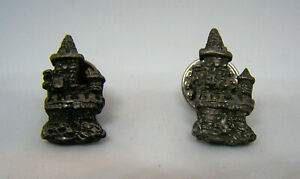 Vintage-Gallo-Pewter-Pair-of-Tiny-1-034-Inch-Castle-Pins-Lapel-Pins