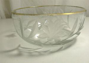 Très Belle Coupe Cristal Taillé Karlsbad Moser, Art Nouveau, Décor Floral Gravé