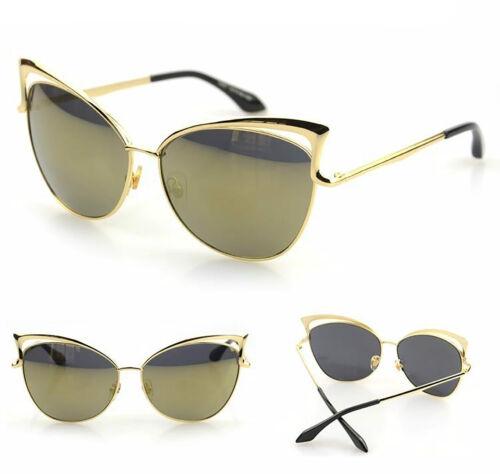 NEU Damen Metallrahmen Cat Eye übergroße Sonnenbrillen