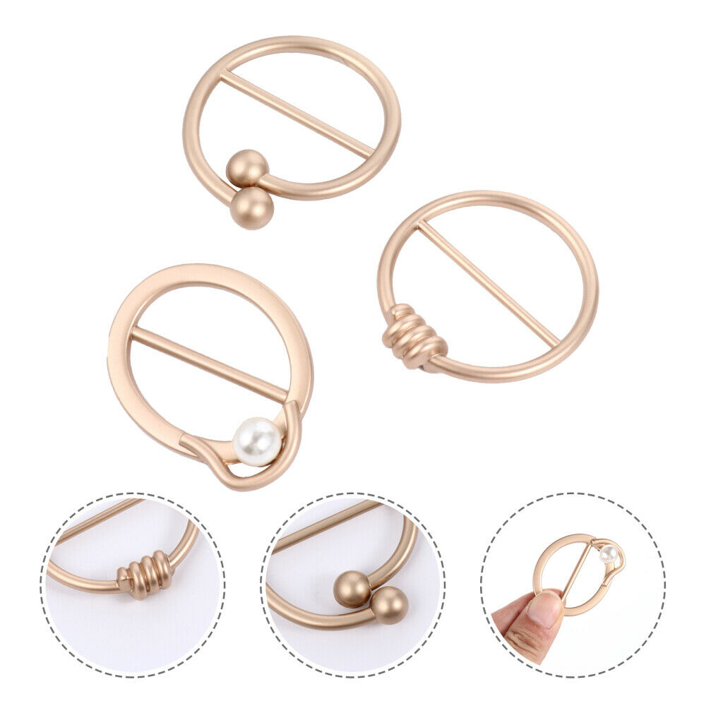 6 Pcs Convenient Party Buckle Rings Practical Chic Silk Scarf Buckles (Golden)