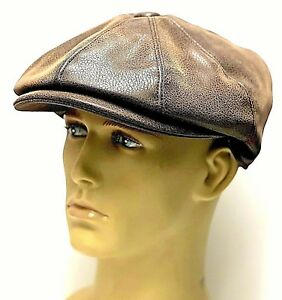 Peaky-Blinders-Newsboy-Leather-Look-Hat-Gatsby-Cap-Flat-8-Panel-Baker-Boy-Men-039-s