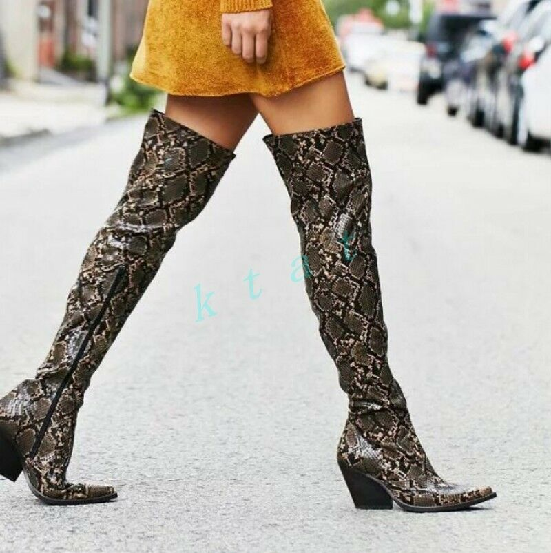 Retro Womens Leather Zipper Shoes High Heels Pointy Toe Over The Knee High Boots
