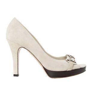 5db811ce56a 41028 auth GUCCI bone white suede leather Platform Peep-Toe Pumps ...