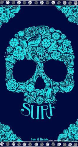 Serviette de plage jacquard Tête de mort skull bleu 95X175 cm JQ 147