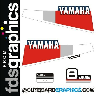 Yamaha 8hp 2 stroke outboard engine decals//sticker kit