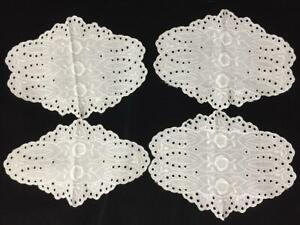 4 matching doilies dresser scarves white eyelet lace embroidered roses vintage