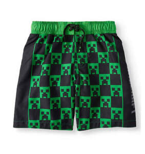 d0660e886c MINECRAFT CREEPER SWIMMING TRUNKS SHORTS SIZE 4/5 6/7 8 10/12 14/16 ...