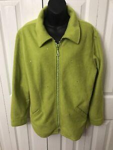 100% aito hieno tyyli kiva halpa Details about The Quacker Factory Womens Lime Green Faux Fleece Jacket  Rhinestones Medium
