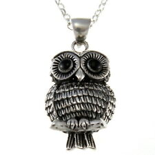 "Sterling Silver Owl Pendant with 18"" Chain & Box"