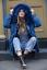 Womens Long Parka Coat Faux Fur Hood Trim Lining detachable fur Denium Jacket UK