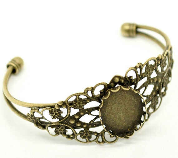 1pc antique bronze filigree bracelet setting-5680