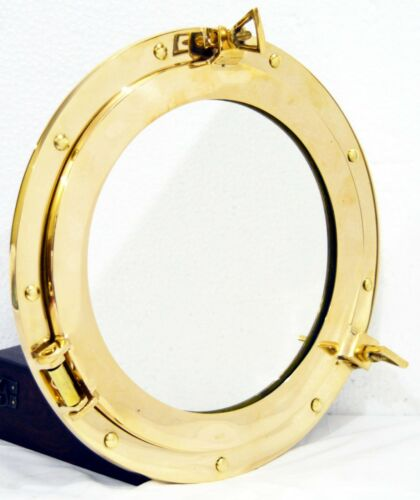 "12/""Round Window Porthole-Shiny Brass Ship Porthole Mirror-Home /& Wall Decor"