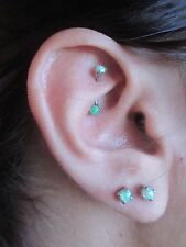 Green Lab Opal Internally Threaded Curved 16G (1.2mm) Eyebrow or Rook Piercing