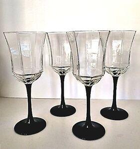 Wine-Water-Glasses-Crystal-Octagon-Luminarc-Arcoroc-France-Four-Black-Stems