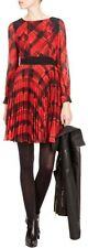 KAREN MILLEN SIGNATURE RED & BLACK TARTEN CHECK SILK PLEATED SKIRT DRESS 10 NEW