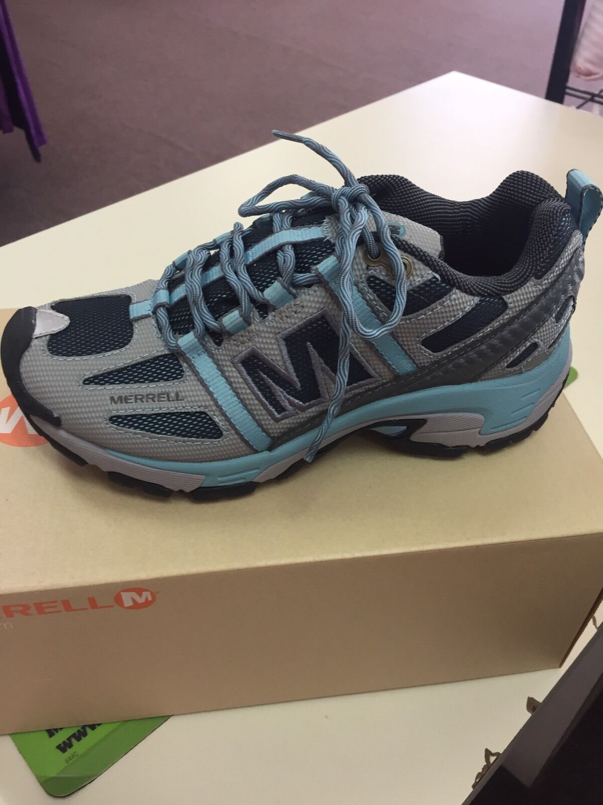 MERRELL Excel Grid WOMEN'S TRAIL RUNNING SHOES SIZE 6m Mineral Blue New