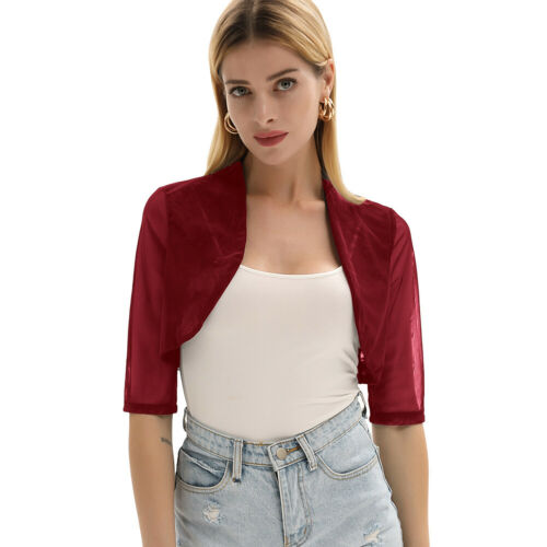 GK Womens Half Sleeve See Through Shrug Coat Mesh Loose Open Front Bolero Jacket