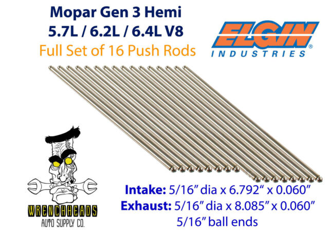 Elgin Set of 16 Mopar Gen 3 Hemi 5.7L 6.2L 6.4L Engine Push Rods 6.792