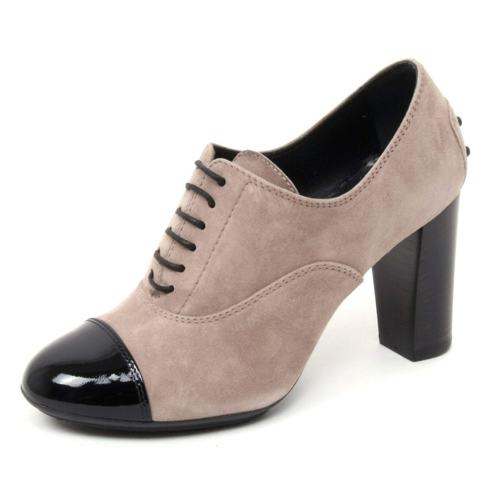 B4816 francesina donna 90 TOD'S scarpa n. tacco 90 donna tortora/nero shoe woman af2d2a