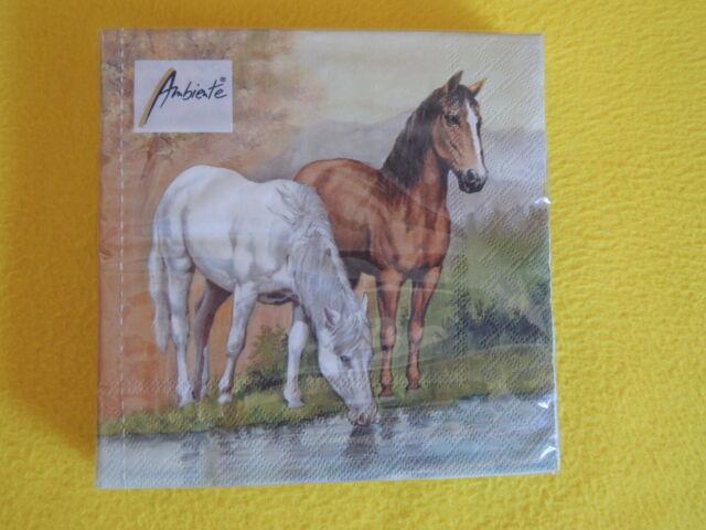 5 stück Servietten PFERDE Horses Pferd Schimmel Brauner Fluss Serviettentechnik