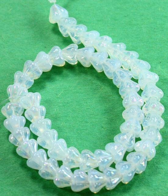 50 Turquoise Bell Flower Czech Glass Beads 6MM