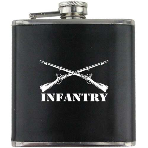 Infantry Branch US Army Veteran Soldier Groomsman Gift Leather Wrapped Flask