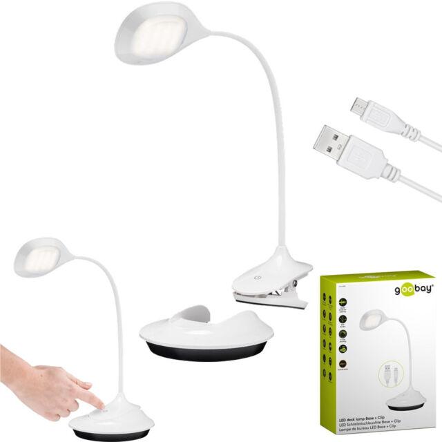 Schlafzimmer oder B/üro Clip Goobay 55496 LED Schreibtischleuchte Base 3,5 Watt Akkubetriebene Innenbeleuchtung f/ür Arbeitszimmer