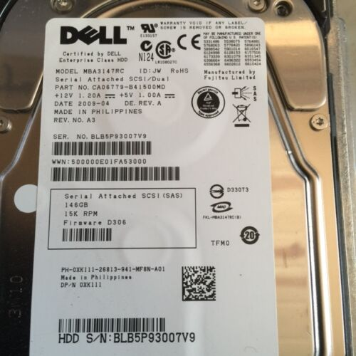 DELL XK111 146GB 15K SAS HARD DRIVE