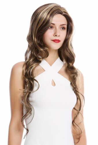 Ladies' Wig Long Middle Part Wavy Wavy Braun Blonde Streaked