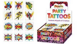 72-Super-Hero-Tattoos-6-Packs-Of-12-Loot-Party-Bag-Fillers-Kids-Temporary