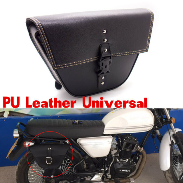 Triangle Motorcycle Leather saddle bag Luggage Tool Side Bag For Cafe Racer ATV