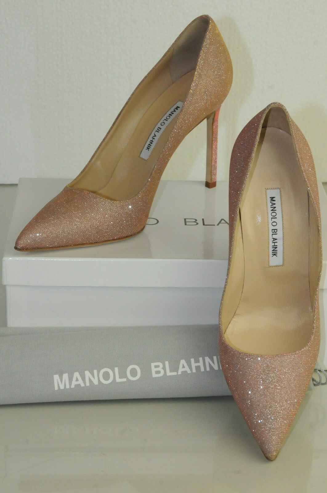 New Manolo Blahnik DAGGA Nude Pink Silver gold Sparkle shoes shoes shoes Pumps BB 40.5 41.5 ca1841