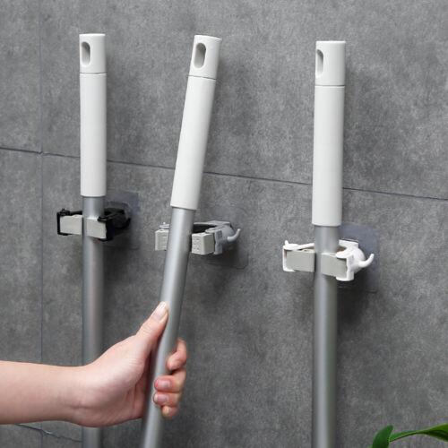 2//4x Mop Broom Handle Clip Holder Hooks Hangers Clamp Wall Mounted Storage Racks