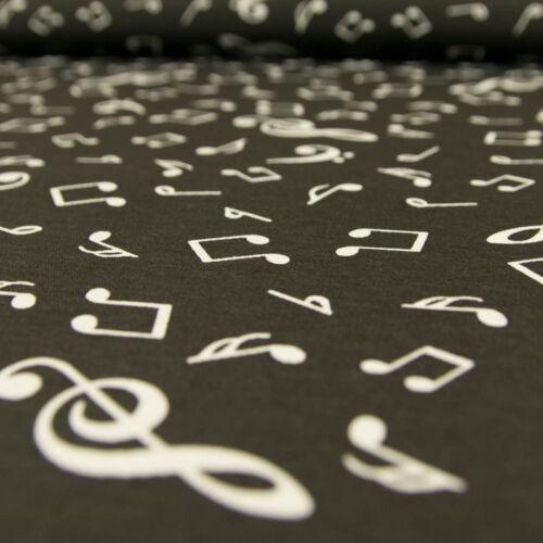 Preis gilt für 0,5 Meter Dekostoff Musiknoten schwarz Canvasstoff Dekorationen