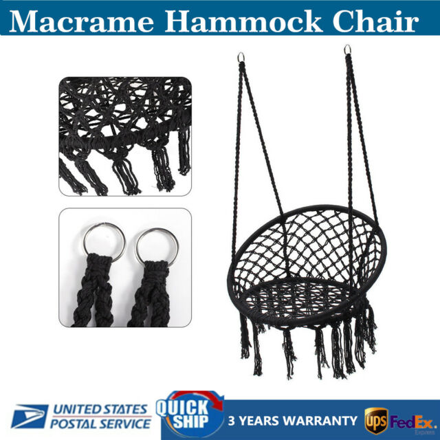 Peachy Patio Macrame Hammock Chair Home Relaxing Swing Chair Hanging Seat Modern Black Ocoug Best Dining Table And Chair Ideas Images Ocougorg