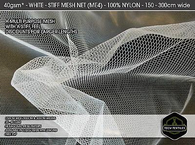 STIFF FABRIC CLOTH WHITE MESH NET 150cm wide NYLON