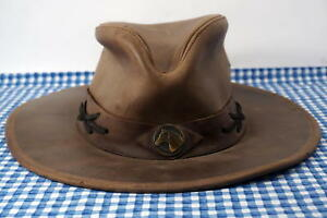 98a6c8f2ee55c Image is loading Sombreros-Pampa-Argentina-Horse-Brown-Leather-Outback -Cowboy-