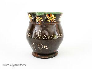 Antique-French-Redware-Pottery-Brown-Slip-Glaze-Water-Pitcher-Folk-Art