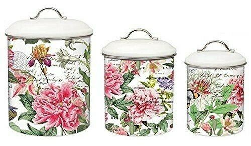 Michel Design Works Peony Flowers Flowers Flowers 3-Piece Metal Kitchen Canister Set NEW 2c092e