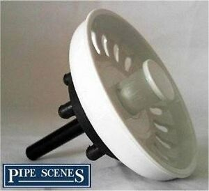 Kitchen Sink Basket Strainer Waste Plug Coloured White
