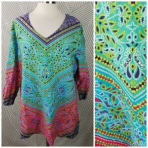 LA-CERA-Plus-size-2X-18-20-Wearable-Art-kaleidoscope-Tunic-Blouse-hippie-boho