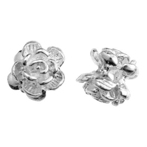 4x Rosa Flor De Plata Esterlina Espaciador Perlas Pulsera Collar 5mm//6mm para