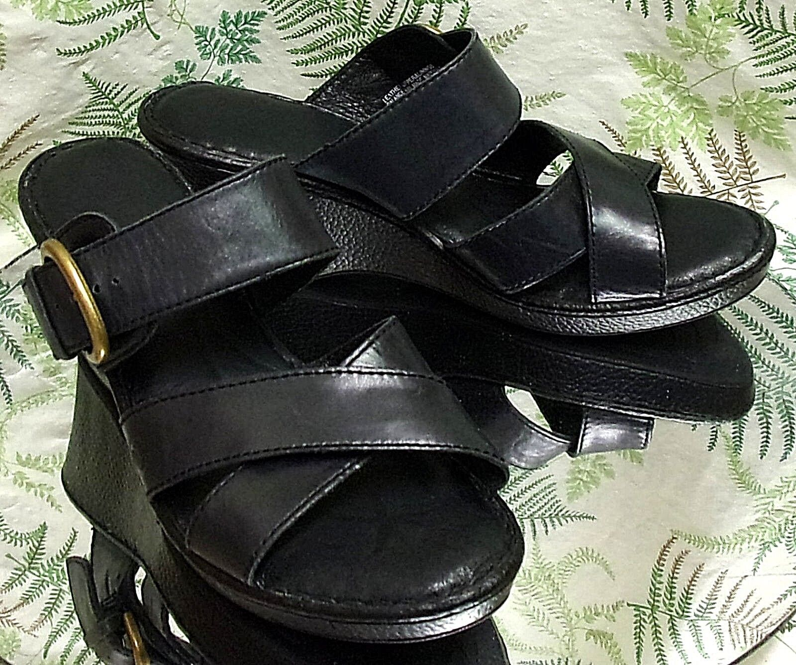 BORN BLACK LEATHER SLIP ONS OPEN TOE MULES SANDALS HEELS SHOES US WOMENS SZ 10 M