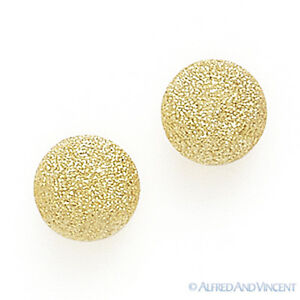 14k-Solid-Yellow-Gold-Stud-Earrings-14kt-14-kt-Satin-Matte-Finished-Ball-Studs