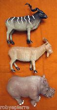 lotto 3 grandi animali in plastica rinoceronte capra kudu antilope corna spirale
