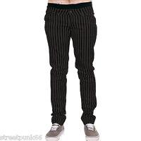 Drainpipe Stretch Skinny Jeans Grey Stripe Mens Unisex Indie Rock Glam Retro