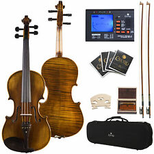 "16"" CECILIO CVA-600 FLAMED VIOLA EBONY FITTED 1pc BACK"